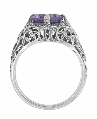 Art Deco Flowers and Leaves Emerald Cut Lilac Amethyst Filigree Ring in Sterling Silver - Item SSR16A - Image 1
