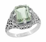 Art Deco Flowers and Leaves Emerald Cut Prasiolite ( Green Amethyst ) Filigree Ring in Sterling Silver