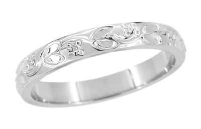 Art Deco Flowers and Leaves Engraved Wedding Ring in 14 Karat White Gold