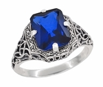 Art Deco Flowers and Leaves Lab Created Blue Sapphire Filigree Ring in Sterling Silver