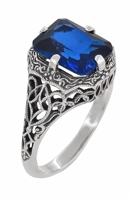 Art Deco Flowers and Leaves Lab Created Blue Sapphire Filigree Ring in Sterling Silver - Item SSR16S - Image 1