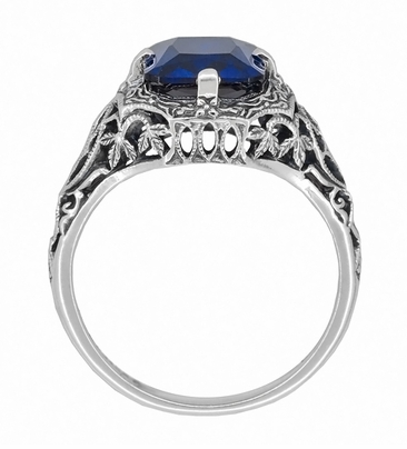 Art Deco Flowers and Leaves Lab Created Blue Sapphire Filigree Ring in Sterling Silver - Item SSR16S - Image 2