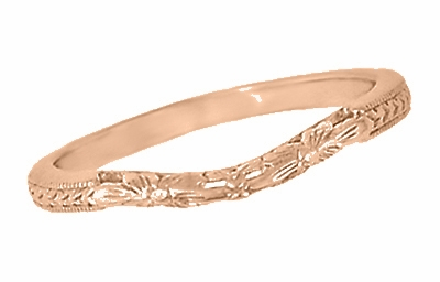 Art Deco Flowers and Wheat Engraved Filigree Wedding Band in 14 Karat Rose Gold - Item WR356R - Image 1
