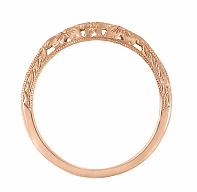 Art Deco Flowers and Wheat Engraved Filigree Wedding Band in 14 Karat Rose Gold - Item WR356R - Image 3