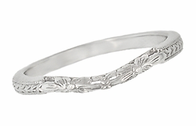 Art Deco Flowers and Wheat Engraved Filigree Wedding Band in 18 Karat White Gold - Item WR356W - Image 1