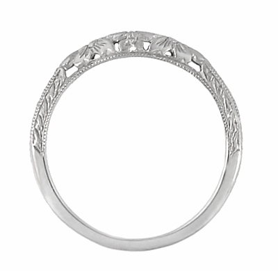 Art Deco Flowers and Wheat Engraved Filigree Wedding Band in 18 Karat White Gold - Item WR356W - Image 3