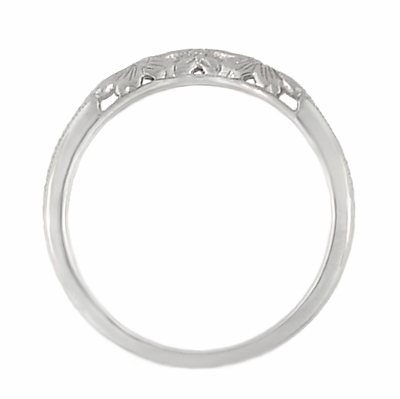 Art Deco Flowers and Wheat Engraved Filigree Wedding Band in 18 Karat White Gold - Item WR356W - Image 4