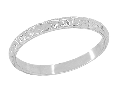 Art Deco Flowers Engraved Thin Wedding Ring in 14 Karat White Gold