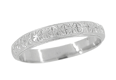Art Deco Flowers Millgrain Edged Antique Wedding Band in 18 Karat White Gold Size 8 1/2 | 1920s Heirloom Carved Wedding Ring