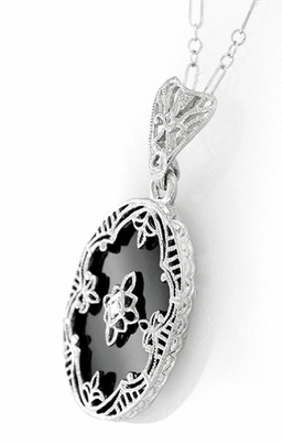 Art Deco Flowers Oval Black Onyx and Diamond Filigree Pendant Necklace in Sterling Silver - Item N154 - Image 1