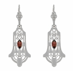 Art Deco Geometric Almandite Garnet Dangling Filigree Earrings in Sterling Silver - Rhodium Vintage 1920s Marquise Almandine Design
