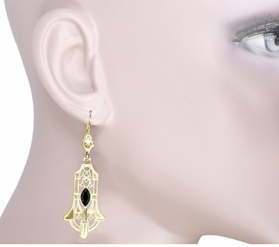 Art Deco Geometric Black Onyx Dangling Filigree Earrings in Sterling Silver with Yellow Gold Vermeil - Item E173YON - Image 2