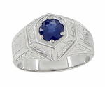 Art Deco Geometric Mens Blue Sapphire Ring in 14 Karat White Gold