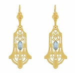 Art Deco Geometric Sky Blue Topaz Dangling Filigree Earrings in Sterling Silver with Yellow Gold Vermeil