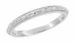 Art Deco Hand Engraved Wheat Millgrain Vintage Wedding Band Design in Platinum