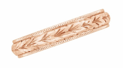 Art Deco Hand Engraved Wheat Wedding Ring in 14 Karat Rose Gold with Millgrain Edge  - Item R636R - Image 2