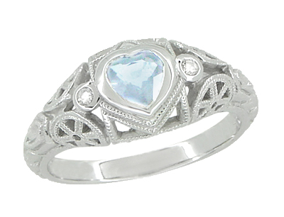 Art Deco Heart Blue Topaz and Diamond Filigree Ring in 14 Karat White Gold | Vintage Inspired
