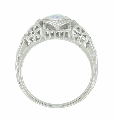 Art Deco Heart Blue Topaz and Diamond Filigree Ring in 14 Karat White Gold | Vintage Inspired - Item R1119BT - Image 3