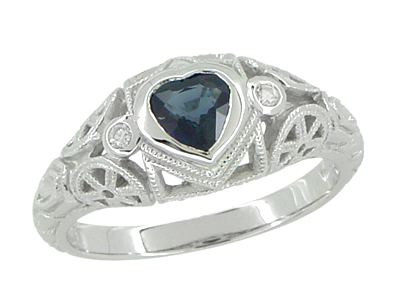 Art Deco Heart Sapphire and Diamond Filigree Ring in 14 Karat White Gold