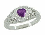 Art Deco Heart Shaped Amethyst and Diamond Filigree Ring in 14 Karat White Gold
