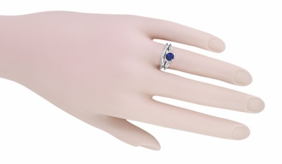 Art Deco Hearts and Clovers 1 Carat Blue Sapphire Promise Ring Solitaire in Sterling Silver - Item SSR163S - Image 4