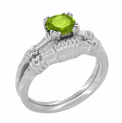 Art Deco Hearts and Clovers 1 Carat Peridot Solitaire Promise Ring in Sterling Silver - Item SSR163P - Image 2