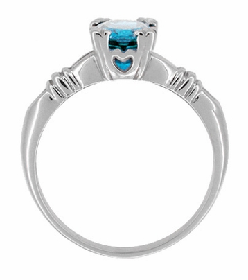Art Deco Hearts and Clovers 1 Carat Swiss Blue Topaz Solitaire Promise Ring in Sterling Silver - Item SSR163WBT - Image 1