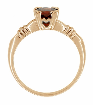 Art Deco Hearts and Clovers Almandine Garnet Engagement Ring in 14 Karat Rose ( Pink ) Gold - Item R707 - Image 1