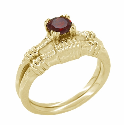 Art Deco Hearts and Clovers Almandine Garnet Engagement Ring in 14 Karat Yellow Gold - Item R707Y - Image 2