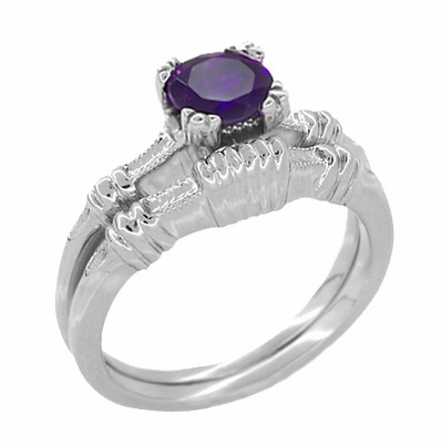 Art Deco Hearts and Clovers Amethyst Solitaire Promise Ring in Sterling Silver - Item SSR163AM - Image 2