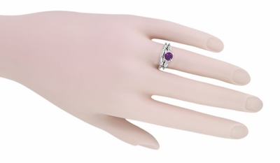 Art Deco Hearts and Clovers Amethyst Solitaire Promise Ring in Sterling Silver - Item SSR163AM - Image 4