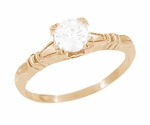 Art Deco Hearts and Clovers Diamond Engagement Ring in 14 Karat Rose ( Pink ) Gold