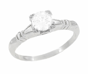 Art Deco Hearts and Clovers Diamond Solitaire Engagement Ring in 14K White Gold