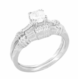 Art Deco Hearts and Clovers Diamond Solitaire Engagement Ring in 14K White Gold - Item R163W50D - Image 2