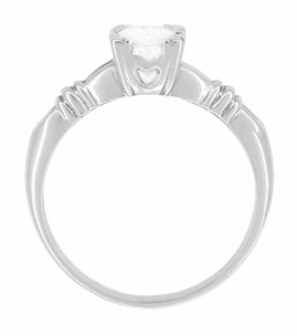 Art Deco Hearts and Clovers Diamond Solitaire Engagement Ring in 14K White Gold - Item R163W50D - Image 1