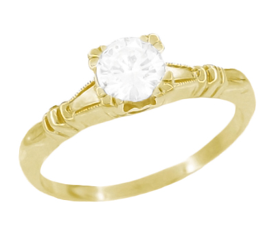 Art Deco Secret Hearts Solitaire Diamond Engagement Ring in 14K Yellow Gold