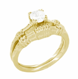 Art Deco Hearts and Clovers Diamond Engagement Ring in 14 Karat Yellow Gold - Item R163Y50D - Image 2