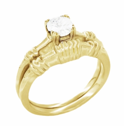 Art Deco Secret Hearts Solitaire Diamond Engagement Ring in 14K Yellow Gold - Item R163Y50D - Image 2