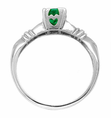 Art Deco Hearts and Clovers Emerald Engagement Ring in 14 Karat White Gold - Item R163 - Image 1