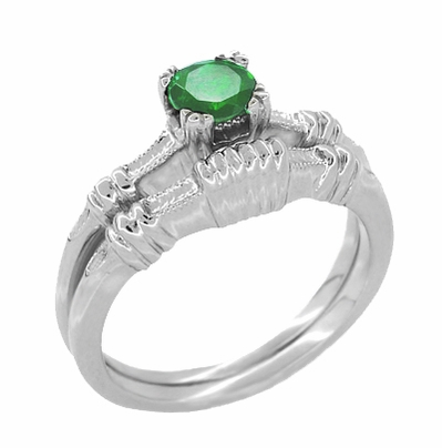 Art Deco Hearts and Clovers Emerald Engagement Ring in 14 Karat White Gold - Item R163 - Image 2