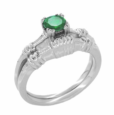 Art Deco Hearts and Clovers Emerald Engagement Ring in Platinum - Item R163P - Image 2