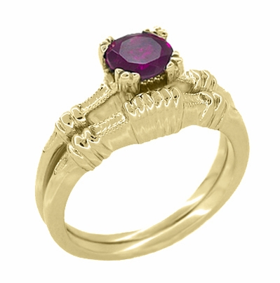 Art Deco Hearts and Clovers Rhodolite Garnet Engagement Ring in 14 Karat Yellow Gold - January Birthstone - Item R707YRG - Image 2