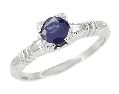 Art Deco Hearts and Clovers Sapphire Engagement Ring in Platinum, Simple Vintage Solitaire Sapphire Engagement Ring