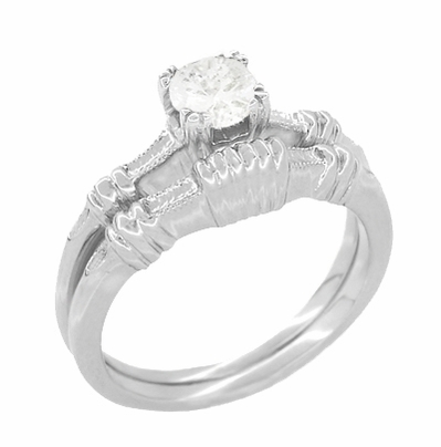 Art Deco Hearts and Clovers White Sapphire Engagement Ring in 14 Karat White Gold - Item R163W50WS - Image 2