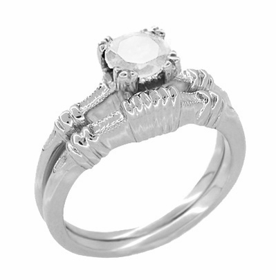 Art Deco Hearts and Clovers White Topaz Solitaire Promise Ring in Sterling Silver - Item SSR163WT - Image 2