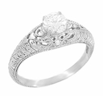 Art Deco Hearts and Diamonds Filigree Engagement Ring in 14 Karat White Gold