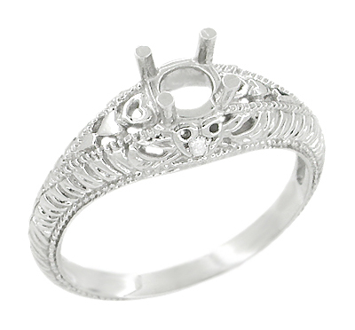 Art Deco Hearts and Diamonds 1/3 Carat Diamond Filigree Engagement Ring Setting in Platinum