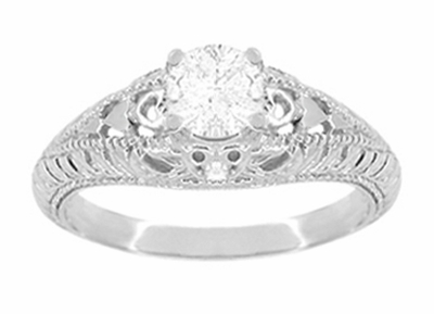 Art Deco Hearts and Diamonds Filigree Engagement Ring in 14 Karat White Gold - Item R627WD - Image 1