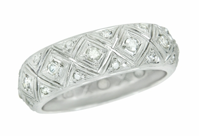 Art Deco Hopewell Vintage Platinum Filigree Diamond Wedding Band - Size 9 - Item R10421 - Image 1