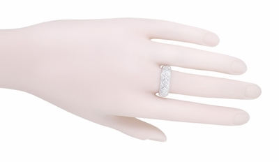 Art Deco Hopewell Vintage Platinum Filigree Diamond Wedding Band - Size 9 - Item R10421 - Image 2